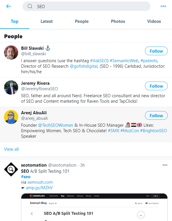 using twitter search